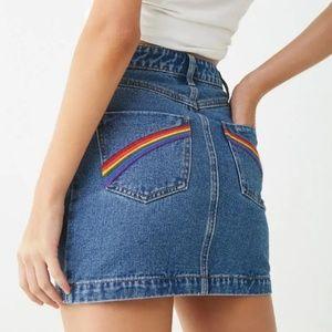 🌈Embroidered Rainbow Denim Mini Skirt